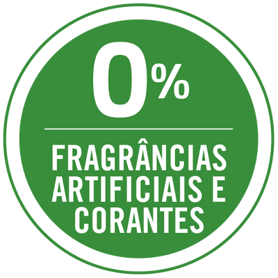 0% fragrancias artificiais e corantes