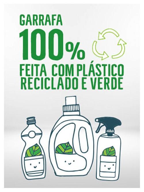 Frasco líquido para lavar louça feito com plástico 100% reciclado
